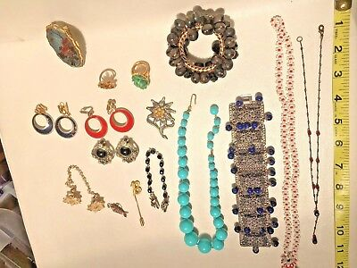 Lot of Antique Vintage Mod Rhinestone Jewelry and Beads - Craft Repair Upcycle