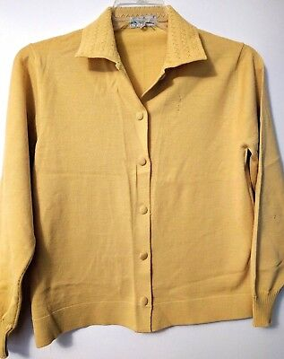 Vintage 1950s-60s Cardigan Sweater—women's size S/M—Gold yellow rockabilly style