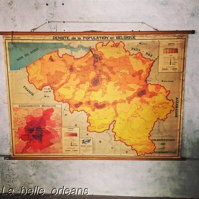 SUPER COOL VINTAGE SCHOOL PULL DOWN MAP OF BELGIUM. MUST SEE ! L@@k!!