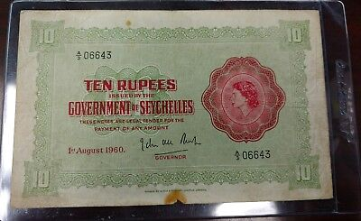 RARE Seychelles 10 Rupees Note VINTAGE BANKNOTE