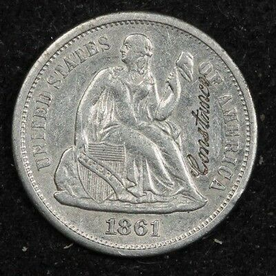 1861-S Seated Dime Engraved Love token RARE Date! AU