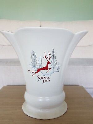 Vintage Crown Devon Fieldings Stockholm Leaping Deer Vase VGC