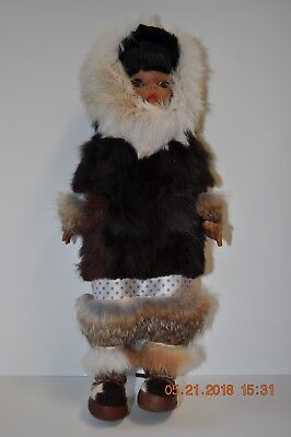 "Vintage Eskimo Inuit Alaskan Doll 15"" With Real Fur And Leather"