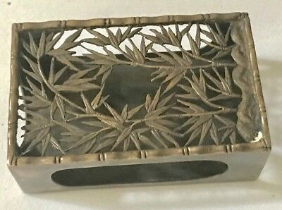 Antique Bamboo Sterling Silver Matchbox Holder Nicer Than Tiffany Ask For BIN