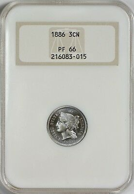 1886 Three Cent Nickel NGC PR66  PROOF ONLY ISSUE - Old Fatty No Line Holder!
