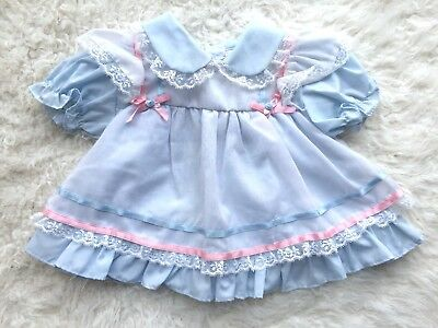 Vintage Baby Girl Pinafore Dress Pastel Blue & Pink Ruffle Lace & Bows 12 Month