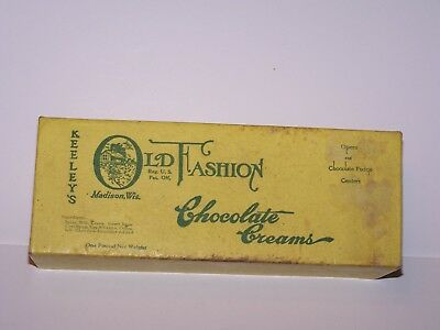 Vtg empty 1 pound Keeley's Old Fashion Chocolate creams box Madison WI candy