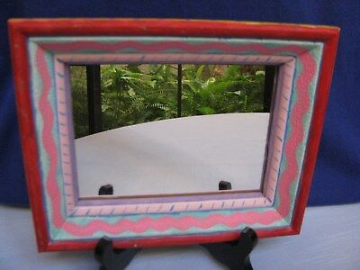 Hand Painted Wood Framed Mirror Wall Decor Red Pink Yellow Blue Rustic Folk Art