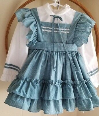 Vintage 80s MARTHAS MINIATURES Blue Dotted Swiss Full Circle Pinafore Dress 4