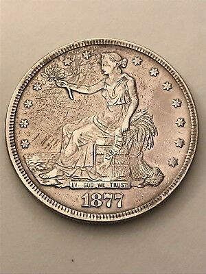 1877 Trade Dollar (T$1) with VF Details - 90% SILVER Coin ! ! !