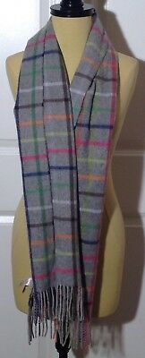 Coach Gray Multi-Color Cashmere Scarf Legacy Tattersall NWOT
