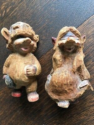 Early HENNING NORWAY Hand Carved Wood Troll Couple