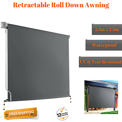 NEW Grey Roll Down Awning Retractable Hand Crank Privacy Screen Window Carport