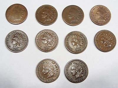 1866 1873 1875 1879 1880 1881 1882 1883 1884 1886 Indian Cent  Lot    #521s10IHL