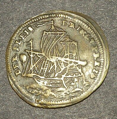 Post Medieval Coin 1500's Ship Moon Sun Stars Colonial Bronze Antique Europe Lot