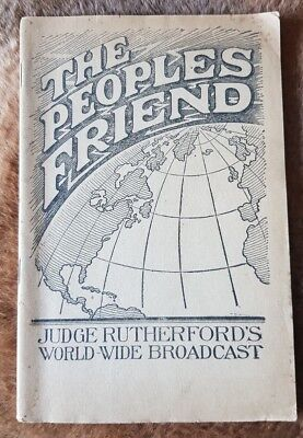 """The Peoples Friend"" 1928 J F Rutherford Watchtower booklet IBSA Original"