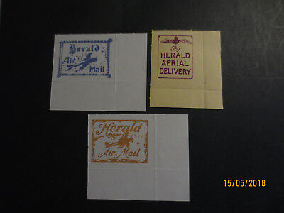 Herald   Air Mail   Stickers    --3  Different  Stamps  --Great Mix