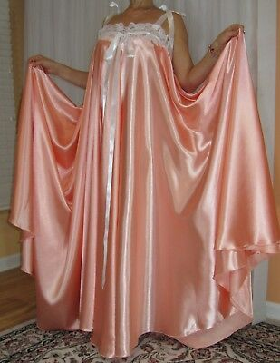 VTG Lingerie Silky Satin Slip FULL Sweep Negligee Babydoll LONG Nightgown M- 6X