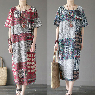27e49931df Summer Women s Vintage Loose Short Sleeve Cotton Linen Oversized Dress  Baggy New
