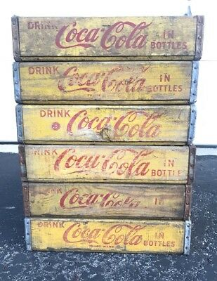 6 Vintage 1960's Yellow Coca Cola Coke Wood Soda Pop Crates Lot