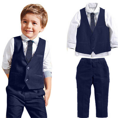 1Set Baby Boys Gentleman Wedding Suits Shirts+Waistcoat+Long Pants+Tie Clothes