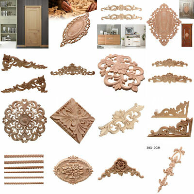 Wood Carved Corner Onlay Vintage Applique Frame Wall Doors Furniture Decorative