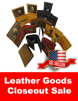 WHOLESALE LOT of 5  Genuine Leather wallet card case bifold trifold checkbook NR