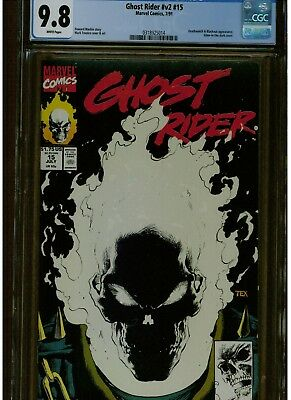 Ghost Rider #15 Cgc  9.8 Mint White Pages 1St Printing Glow In Dark Cover 1991