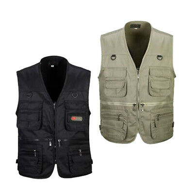 2 Pieces Quick-dry Fishing Vest Hunting Vest XL Black, Khaki XL