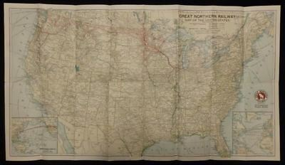 GREAT NORTHERN RAILWAY Map of the United States Vintage ...
