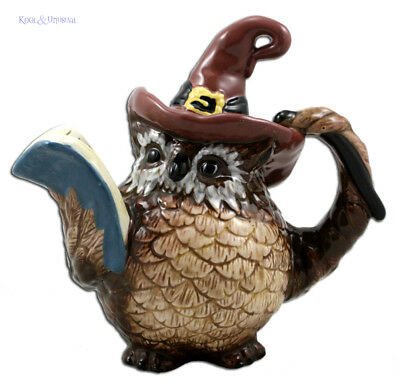 WIZARD OWL Ceramic Artist-Designed Teapot by Blue Sky * Heather Goldminc