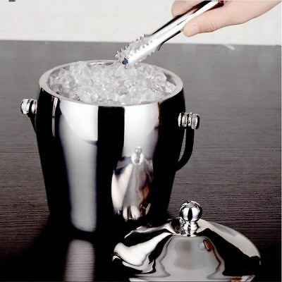 1L & 2L Stainless Steel Ice Buckets with handle & Cubes Barrel Ice Container Bar