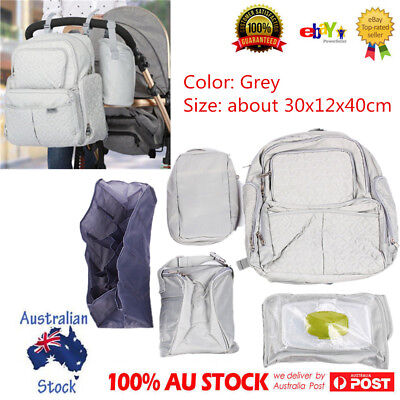 Mummy Mother Diaper Nappy Backpack Newborn Baby Pad Changing Bag Grey