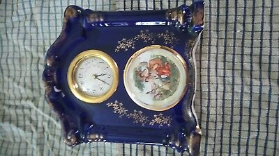 Old ceramic clock case good condition with quartz movement
