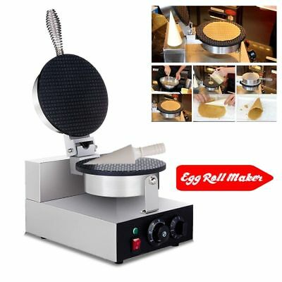 220V Egg Roll Waffle Baker Machine-Nonstick Regular Ice Cream Cone Maker OZ
