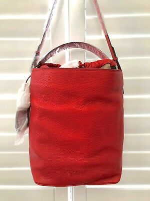 a02dc5a7c123 BURBERRY GRAINY CALFSKIN Medium Check Ashby Cadmium Red Leather Hobo ...