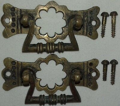 Pair of Antique Brass Drawer Handles with Original Fittings
