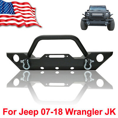 87 06 Jeep Wrangler TJ YJ Front Bumper Winch Plate Built In CREE Led