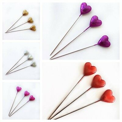 80 Heart Pins Pearl Dressmaking Sewing Craft Hijab Wedding Florist Bouquet 2""
