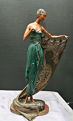 Original 1985 Erte's Art Deco Bronze Figurine Emerald Light Signed & Numbered