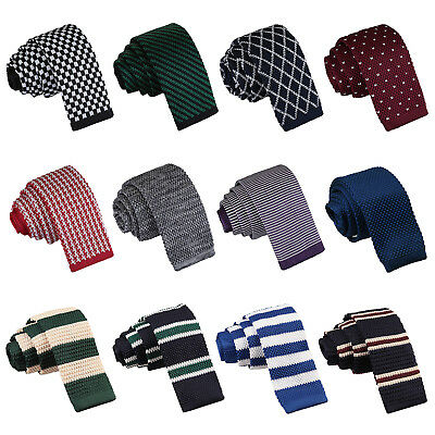 DQT Premium Knit Knitted Solid Plain Pattern Check Stripe Polka Mens Skinny Tie