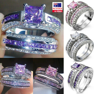 2pcs Women Girls 925 Sterling Silver Zircon Crystal Wedding Engagement Rings Set