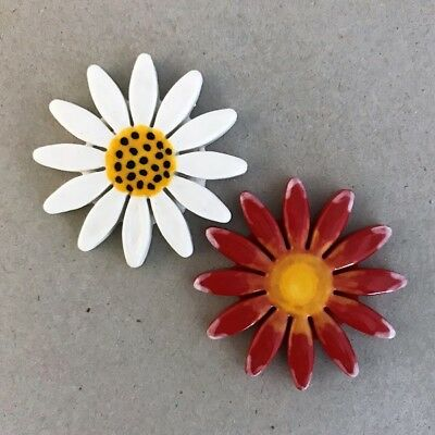 40mm CERAMIC DAISY FLOWER - x2 - Red White ~ Ceramic Mosaic Tiles