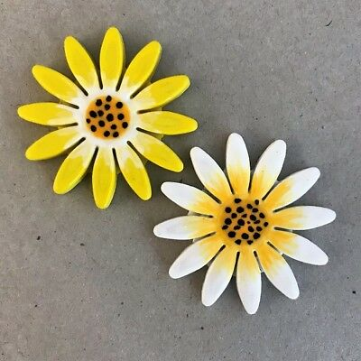 40mm CERAMIC DAISY FLOWER - x2 - Yellow White ~ Ceramic Mosaic Tiles