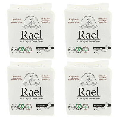 4X Rael Inc. Organic Panty Liners Long Hypoallergenic Feminine Care Daily