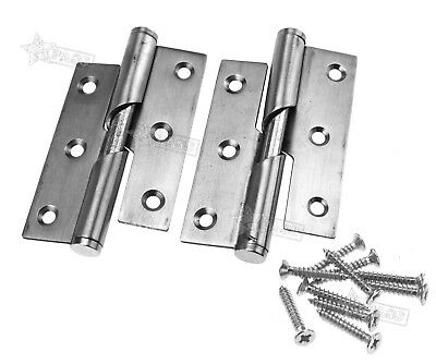 "Pair of Stainless Steel 3"" Rising Butt Kitchen Right Handed Lift Off Door Hinge"