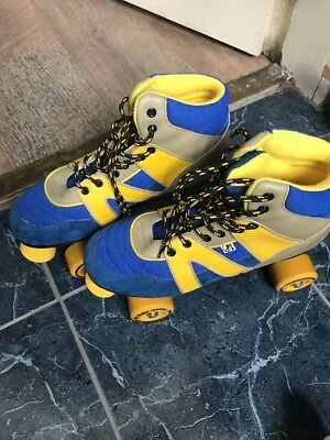 Rio Roller PURE Roller Skates - UK Size 7 ADULT  BLUE/YELLOW Retro Vintage