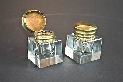 A pair of antique style faceted glass and brass inkwells inkwell writing box FC1