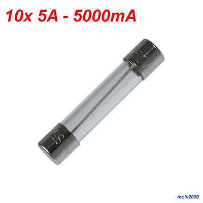 10x FUSE rapid 5A 5 A 5000mA 250V - FAST QUICK BLOW GLASS TUBE FUSE