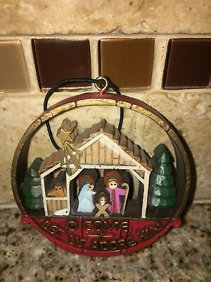 "1977 HALLMARK NOSTALGIA "" NATIVITY "" ORNAMENT "" O Come Let us Adore Him "" NO BOX"
